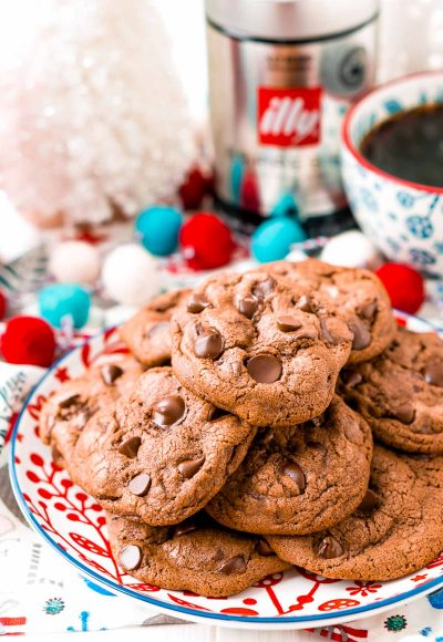 Close up photo of a plate of espresso chocolate chip cookies.