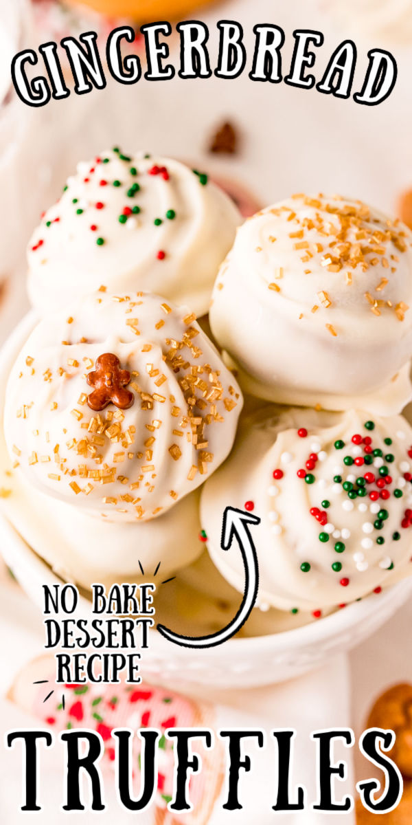Gingerbread Balls are everything you love about the classic holiday cookie in truffle form! The filling is made with spicy gingersnaps, creamy cookie butter, sugar, and spices and then dipped in decadent white chocolate! via @sugarandsoulco