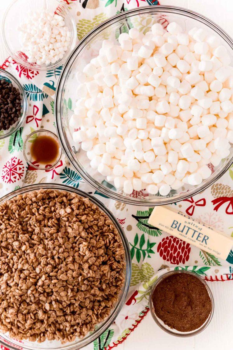 Ingredients to make hot chocolate rice krispie treats.