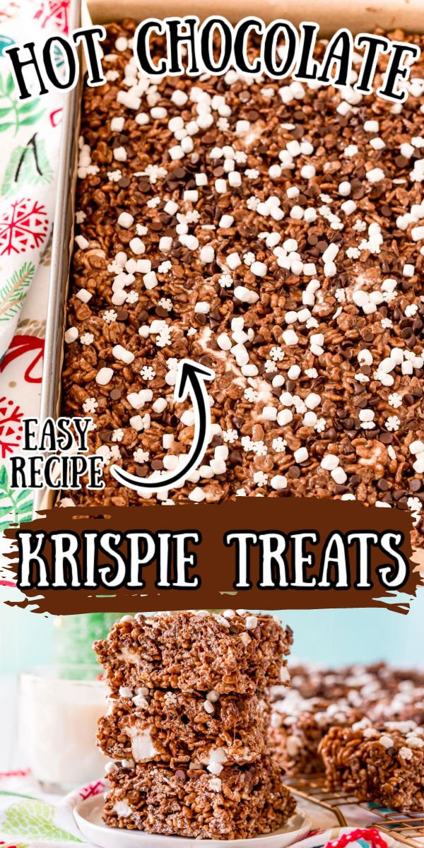 These Hot Chocolate Rice Krispie Treats are loaded with sweet marshmallows and chocolate flavor! They even have hot cocoa mix in them and are the perfect no-bake treat for winter! via @sugarandsoulco