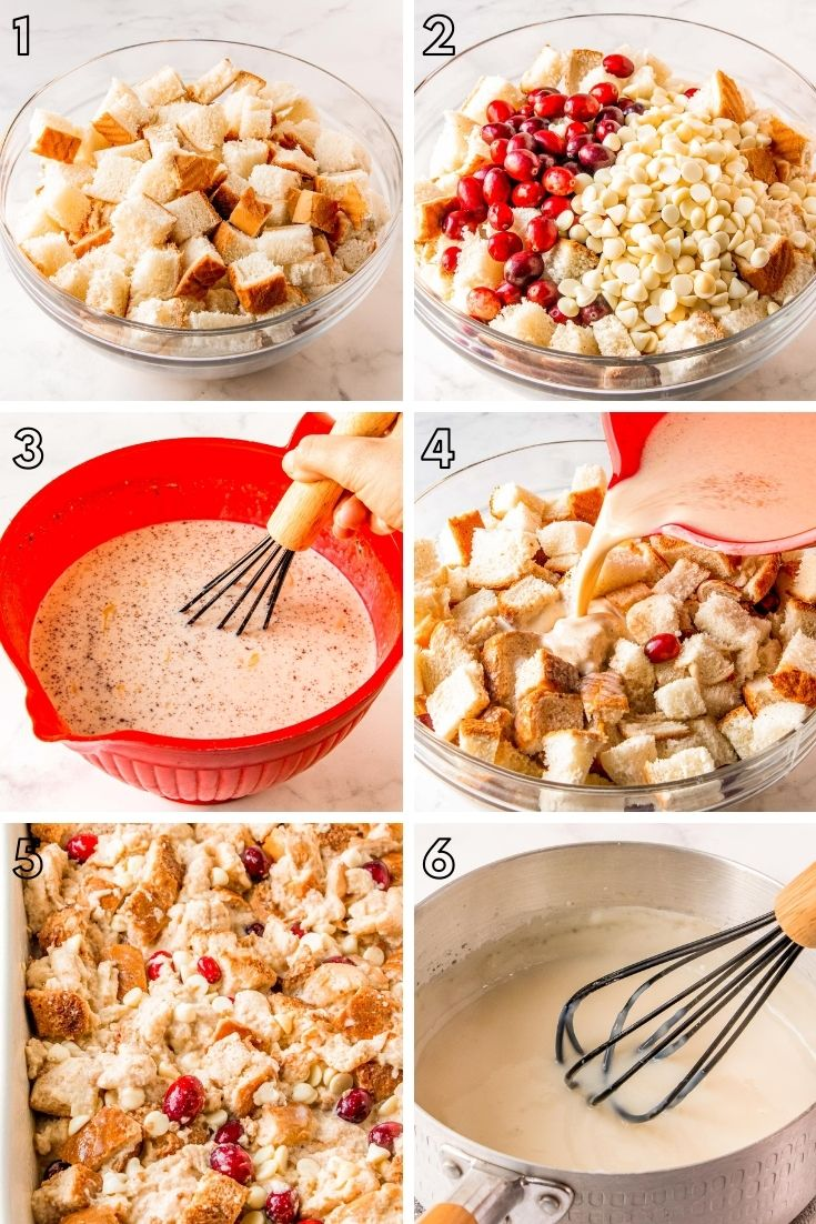 Step-by-step photo collage showing how to make bread pudding.