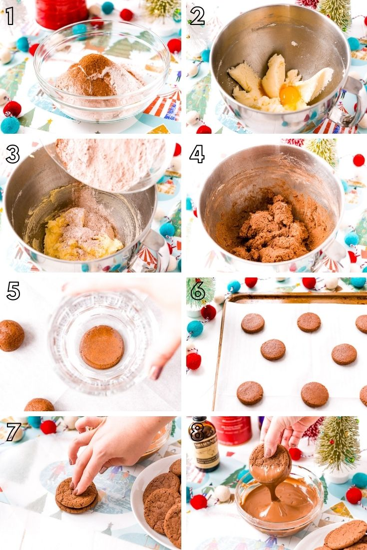 Step by step photo collage showing how to make chocolate sandwich cookies.