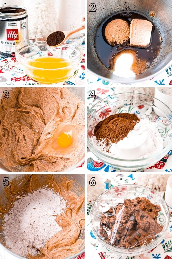 Step by step photo collage showing how to my espresso chocolate chip cookies.