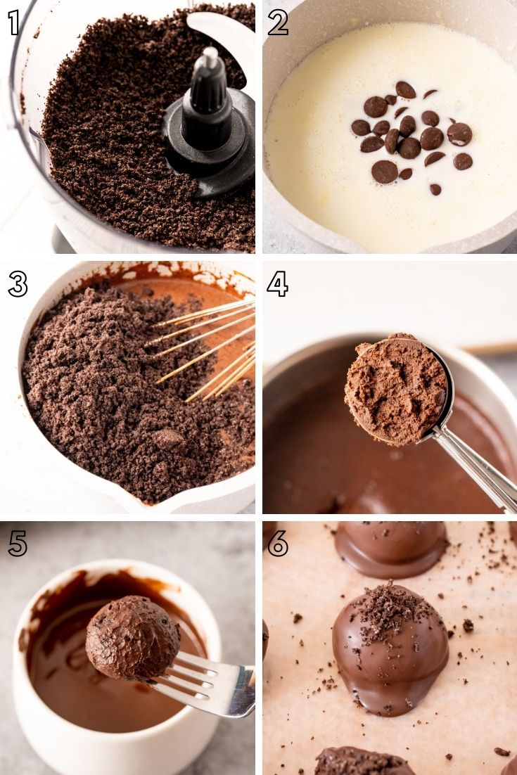 Step-by=step photo collage showing how to make oreo truffles.