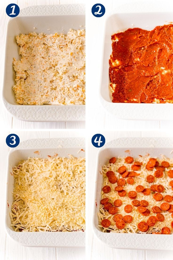 Step-by-step photo collage showing how to make pizza dip.