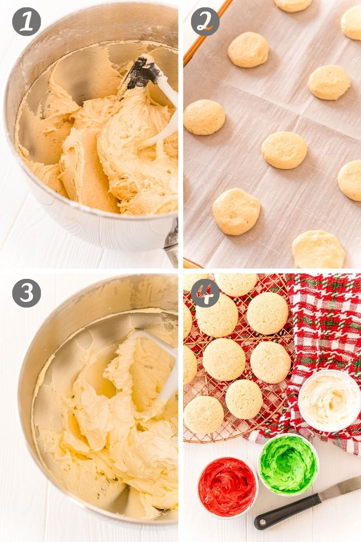 Step-by-step photo collage showing how to make sugar cookies.