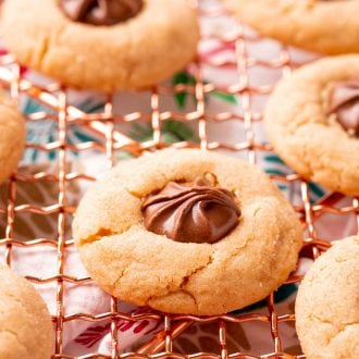 Close up photo of peanut butter blossoms on a copper wire rack.