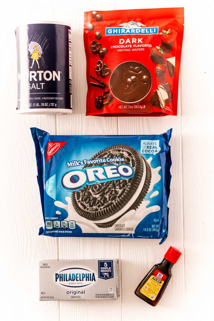 Ingredients to make Peppermint Oreo Balls on a white table.