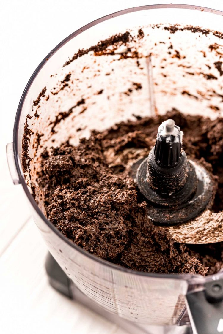 chocolate truffle mixture in a food processor.