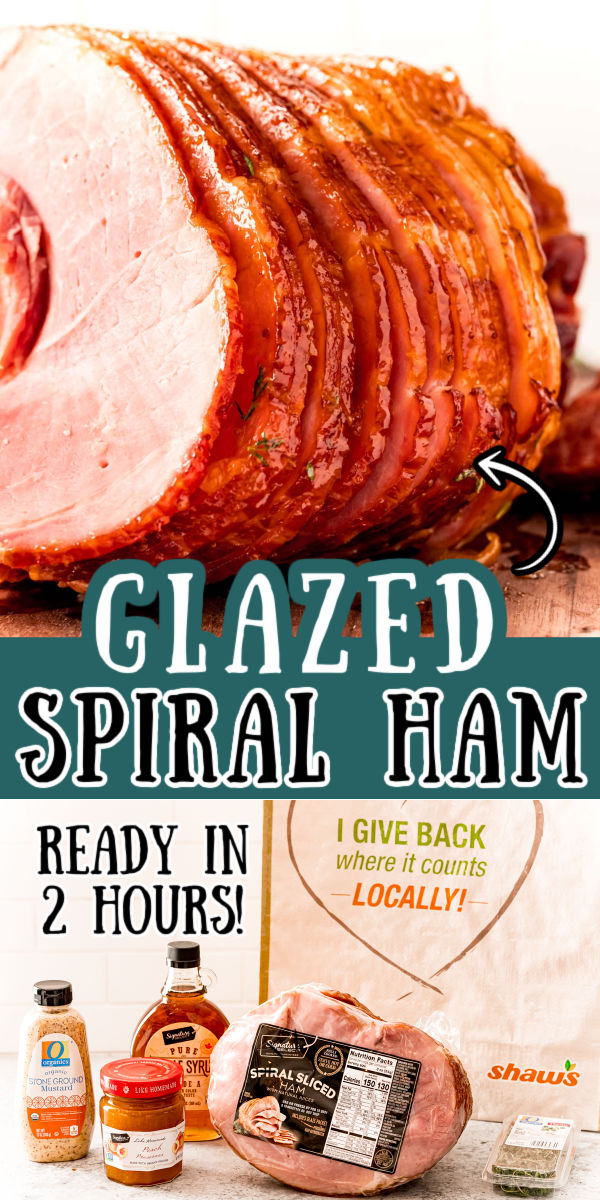 This Maple Peach Glazed Spiral Ham is so easy to prepare with just 10 minutes of prep and five ingredients. Maple syrup, mustard, peach preserves, and thyme take this favorite holiday ham recipe to the next level!  via @sugarandsoulco