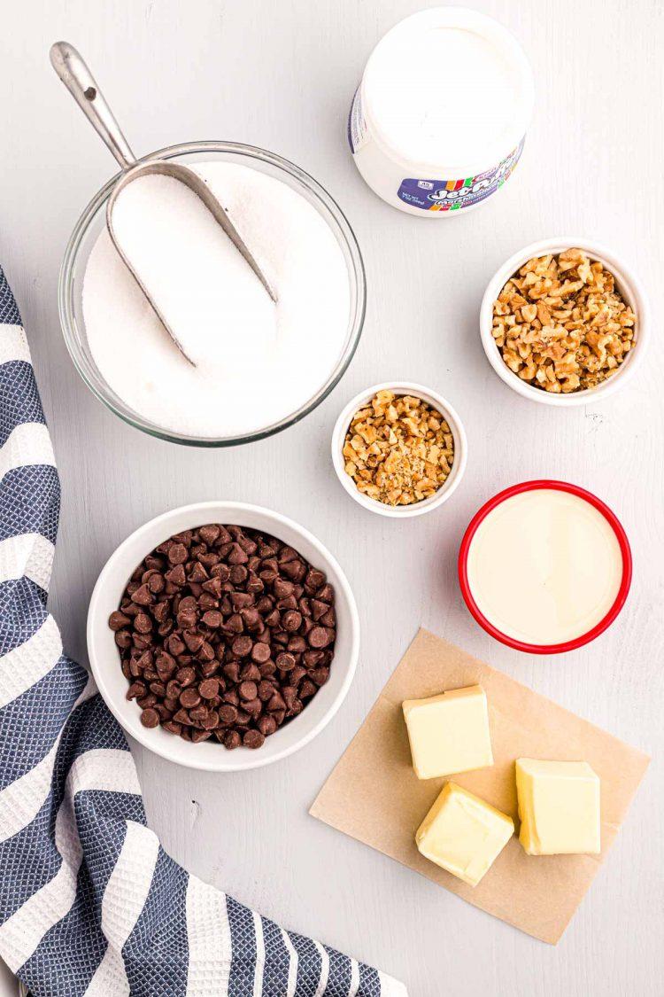 overhead photo of ingredients to make walnut chocolate fudge.