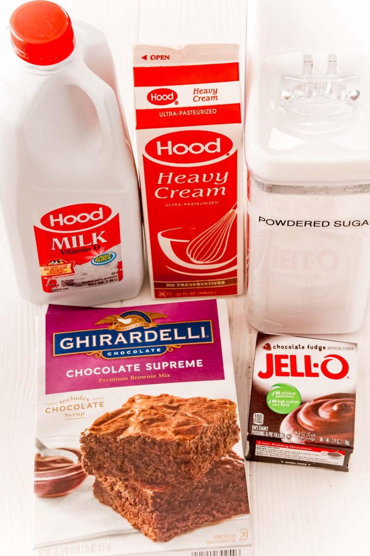 Ingredients to make brownie batter dip.