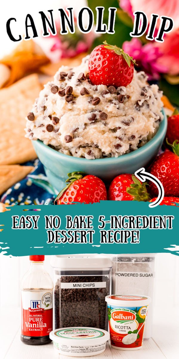 This Cannoli Dip will have you feeling like you're indulging at an authentic Italian bakery! A thick and sweet dessert dip comes to life using just 5 ingredients that's perfect for sharing or keeping all for yourself! via @sugarandsoulco