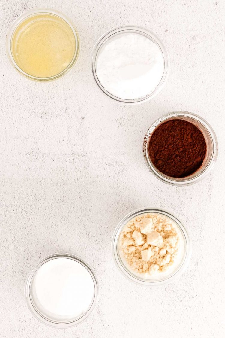 Overhead photo of ingredients to make chocolate macarons.