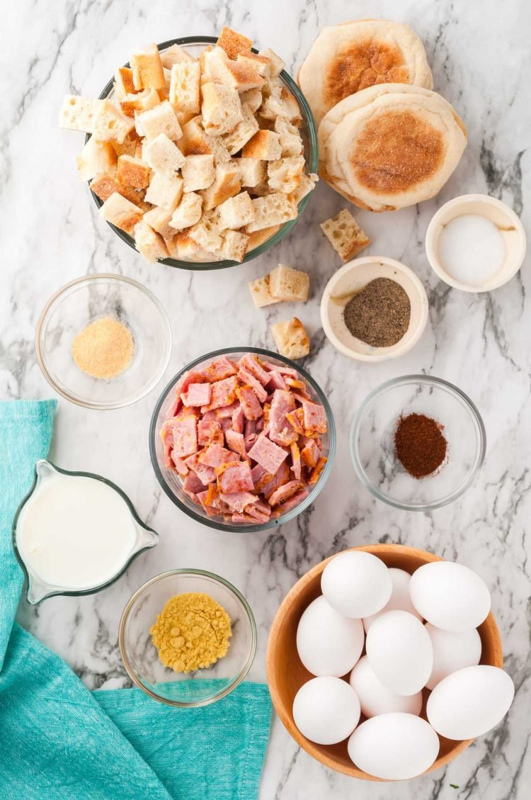 Overhead photo of ingredients to make breakfast casserole.