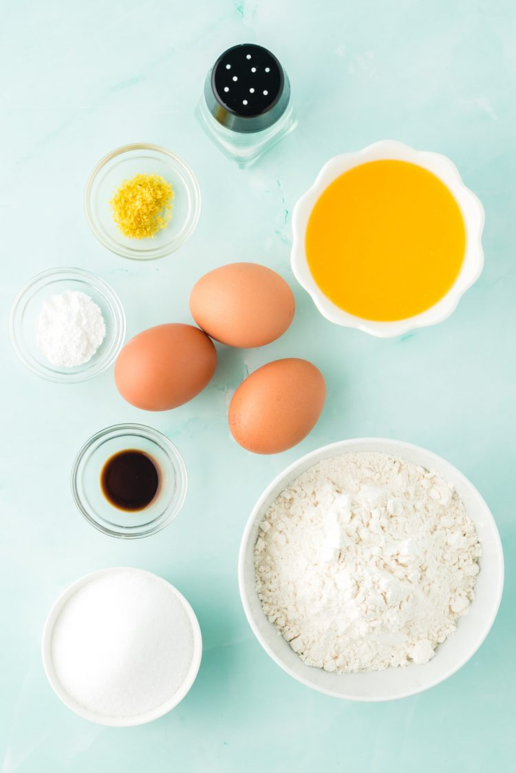 Overhead photo of ingredients prepped to make French madeleines.
