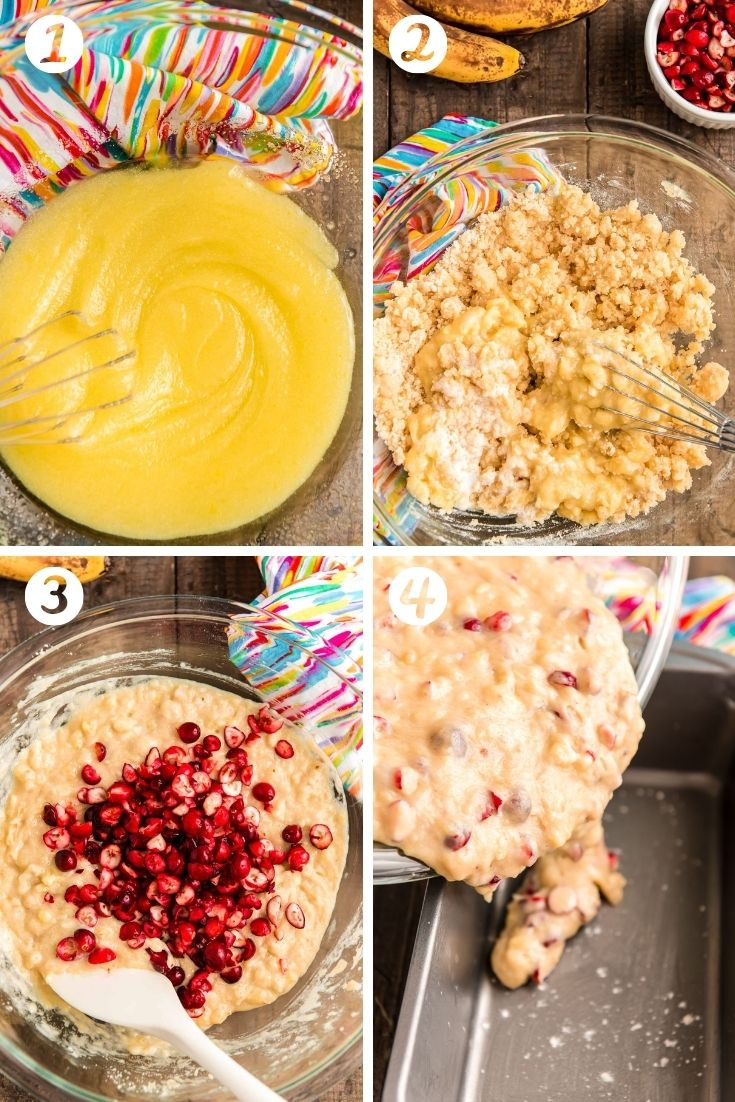 Step by step photos showing how to make cranberry banana bread from scratch.