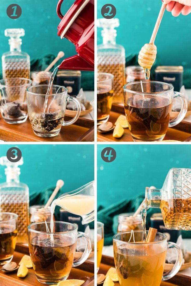 Step by step photo collage showing how to make a hot toddy.