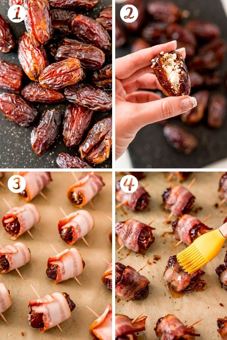 Step by step photos showing how to make bacon wrapped dates.