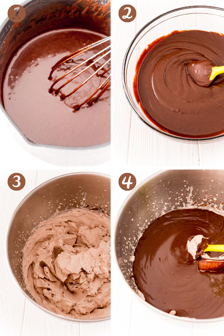 step-by-step photo collage showing how to make brownie batter dip.