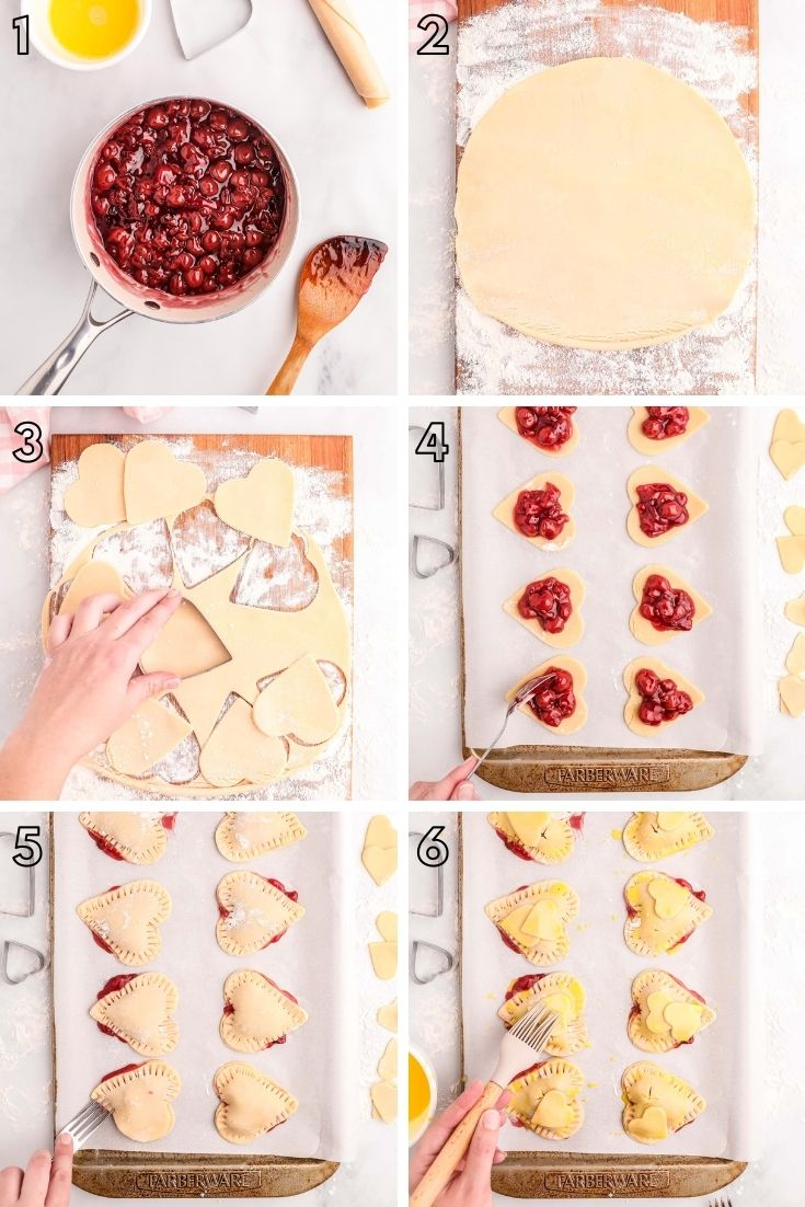 Step by step photo collage showing how to make cherry hand pies.