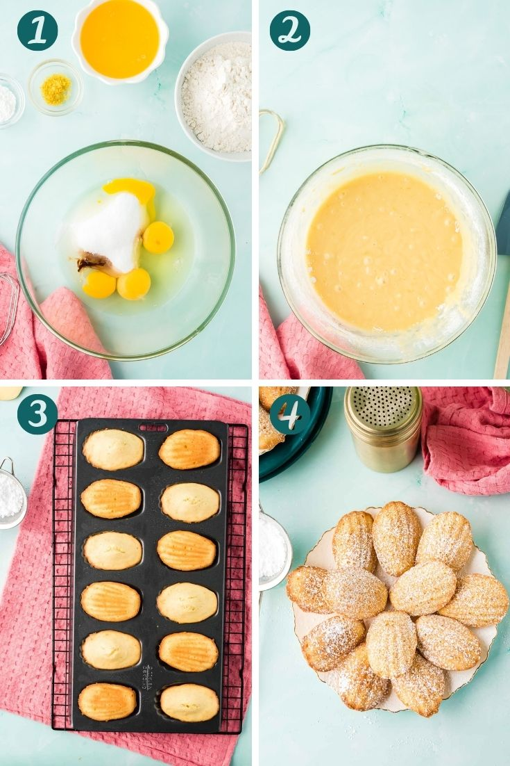 Step by step photo collage showing how to make french madeleines.