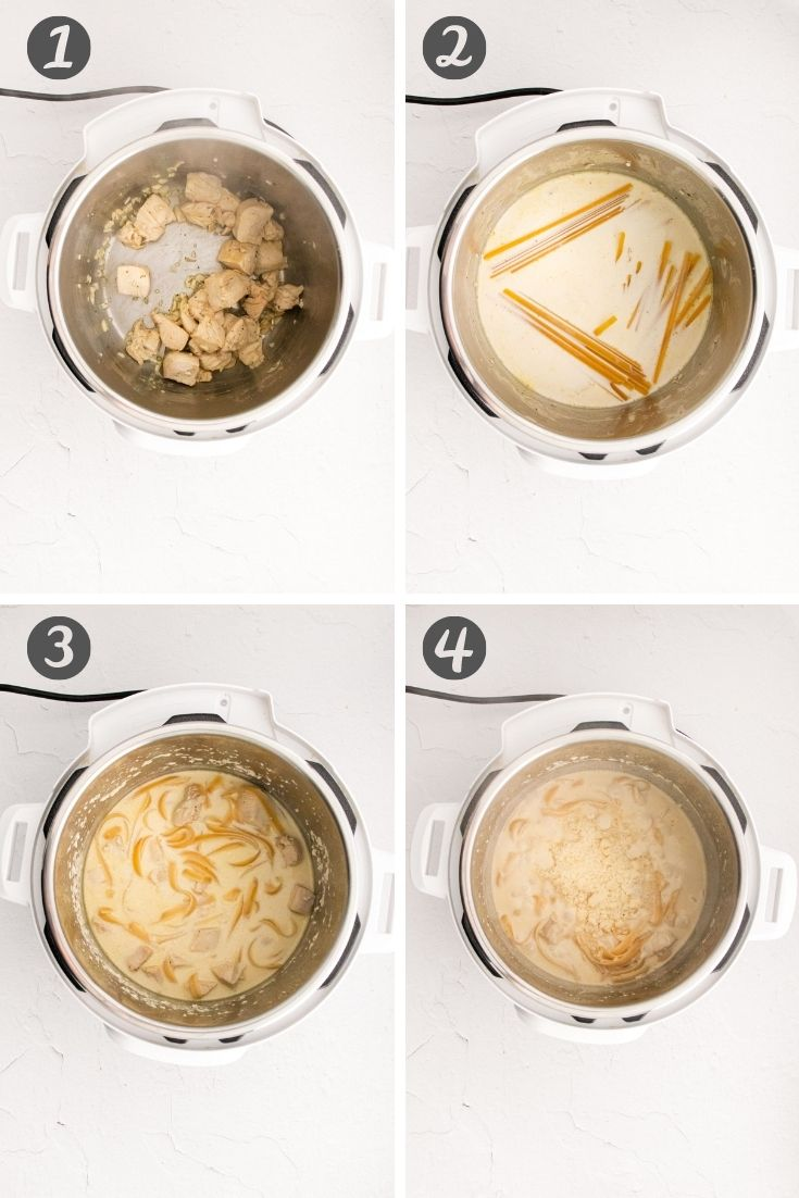 Step-by-step photo collage showing how to make instant pot alfredo.