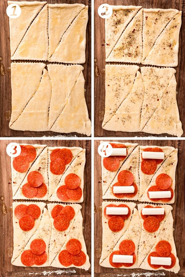 Step-by-step photo showing how to make pizza rolls.