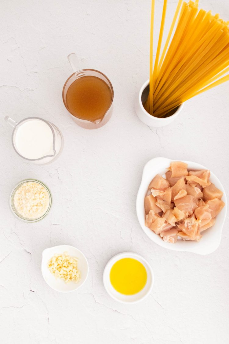 Overhead photo of ingredients used to make instant pot chicken fettucine alfredo.