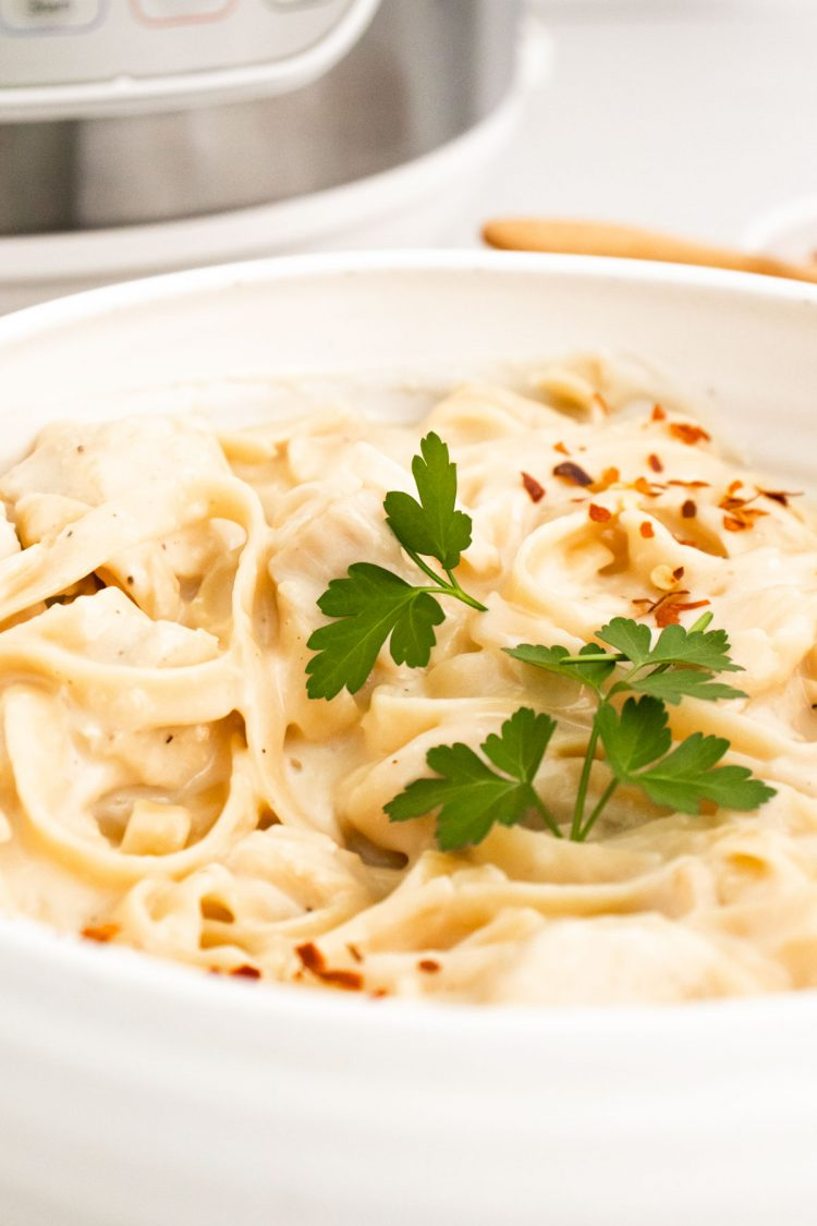 Close up photo of a bowl of fettuccine alfredo in front of an instant pot.