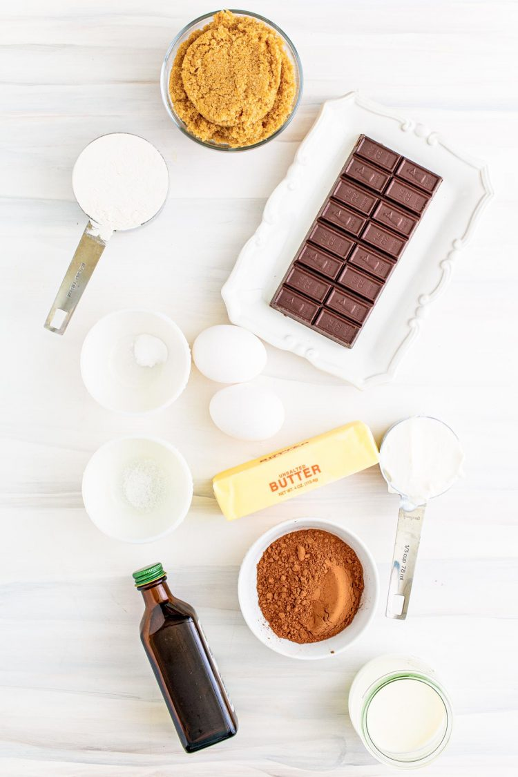 Overhead photo of ingredients used to make chocolate cake.