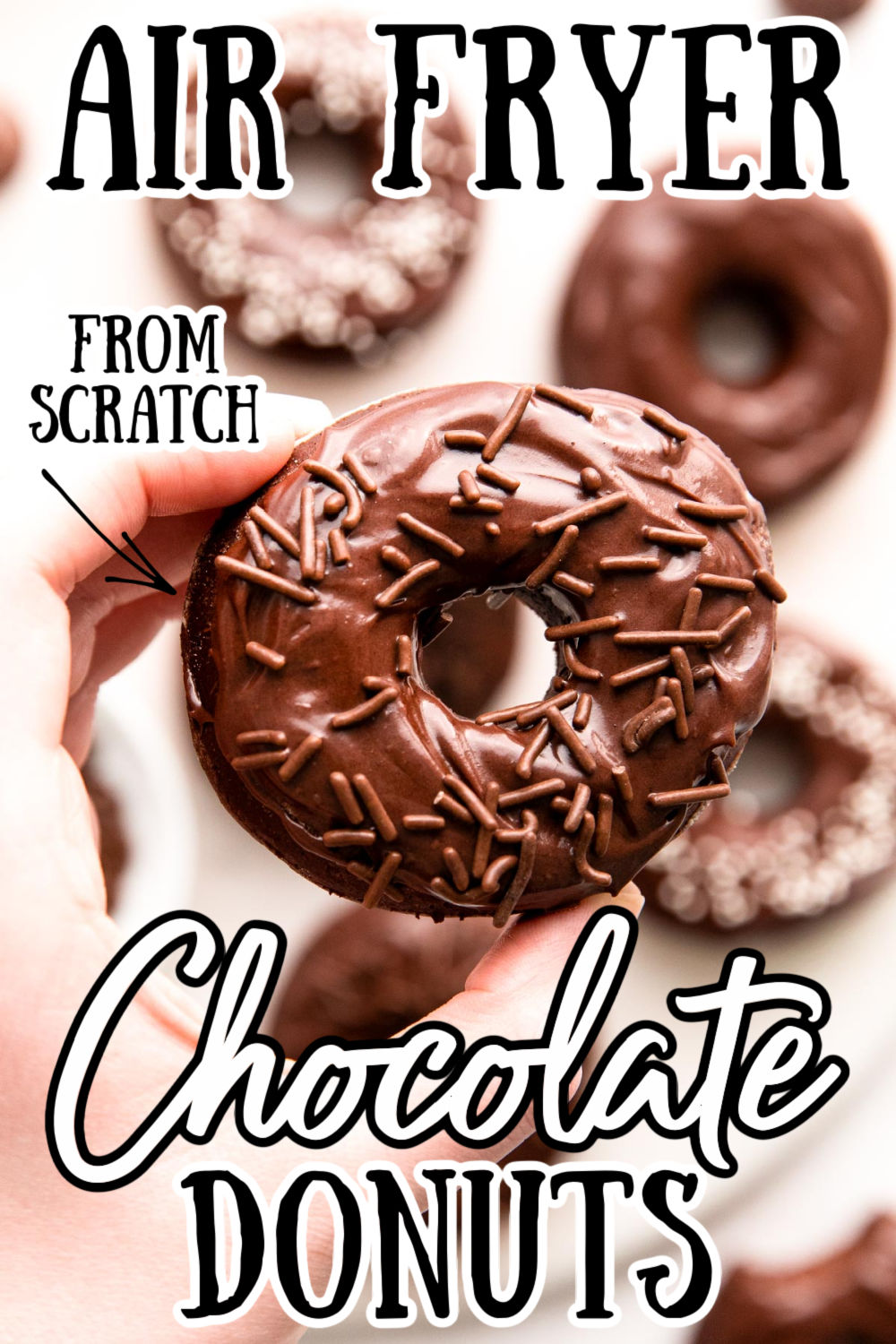 These Air Fryer Chocolate Donuts are amazingly soft and fluffy and packed full of rich chocolate flavor! Made from scratch and just as good as deep-fried! via @sugarandsoulco