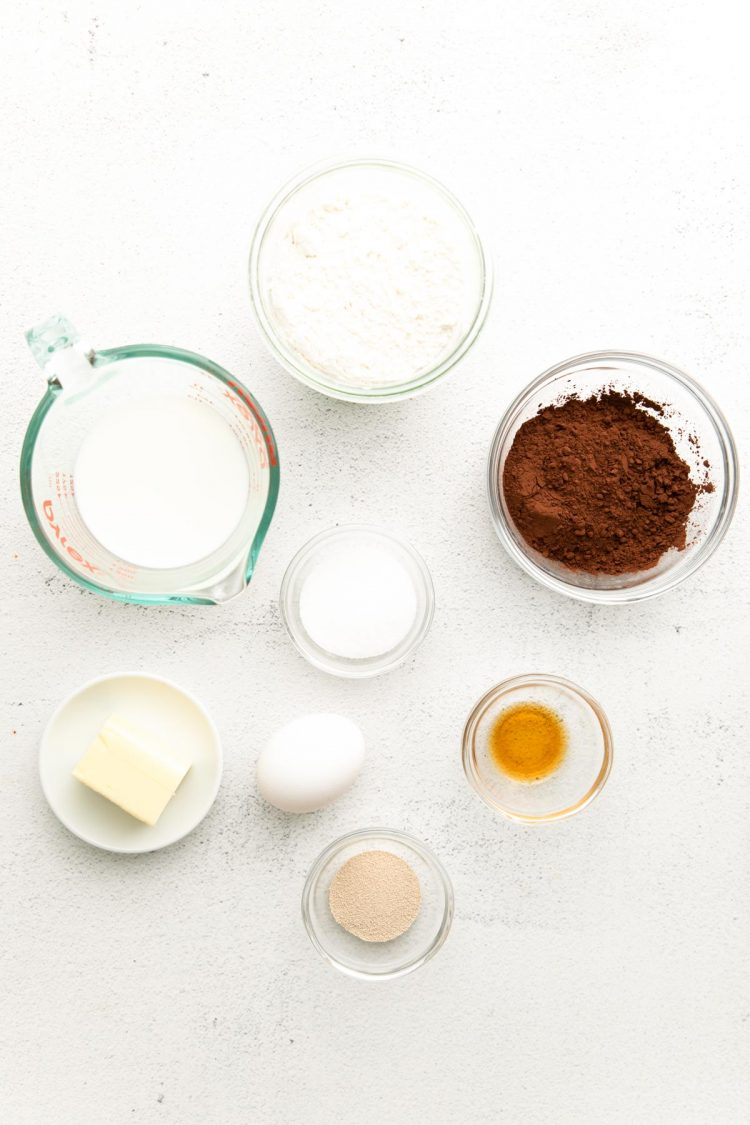 Overhead photo of ingredients to make chocolate donuts.