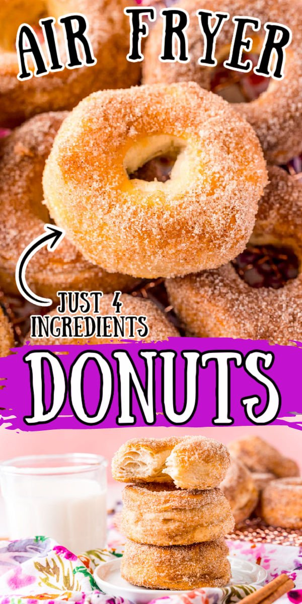 These Air Fryer Donuts are super easy donuts that are ready in just 20 minutes using canned biscuits and then dipped in cinnamon-sugar or topped with a classic sweet glaze! via @sugarandsoulco