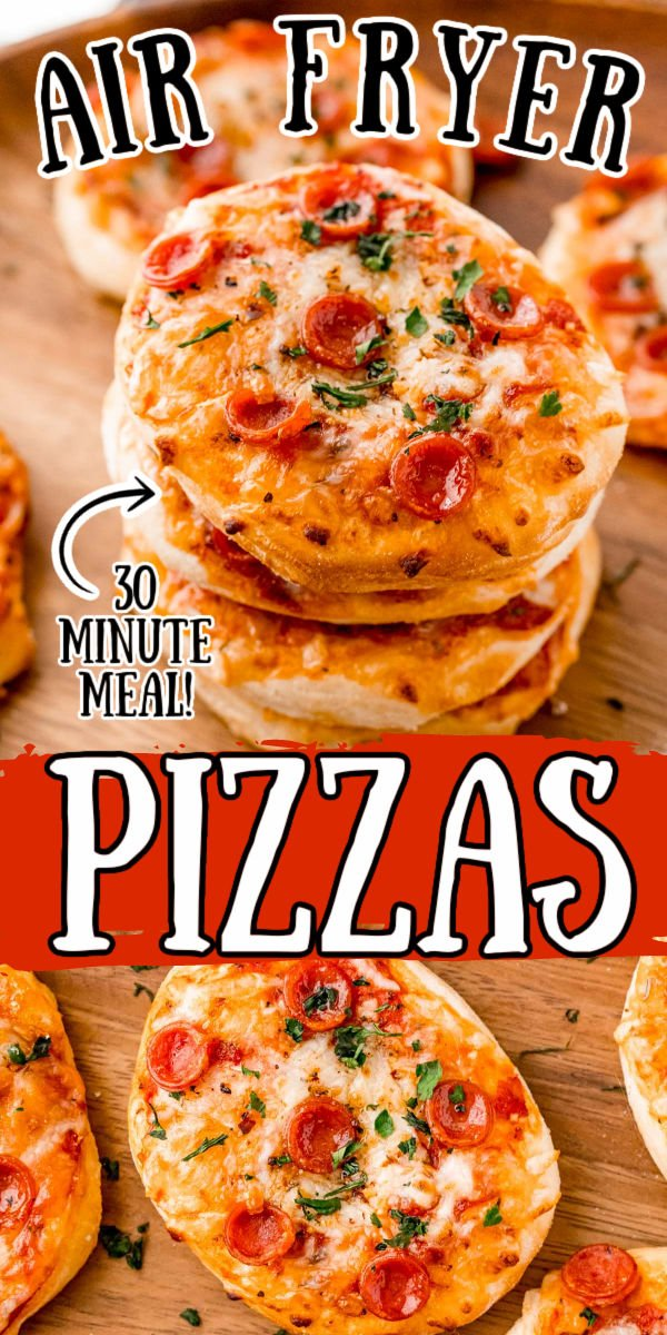 These Air Fryer Mini Pizzas are made out of Grands Flaky Biscuits and finished off with your favorite pizza toppings! They're ready in under 30 minutes making them the perfect quick option for family pizza nights!  via @sugarandsoulco