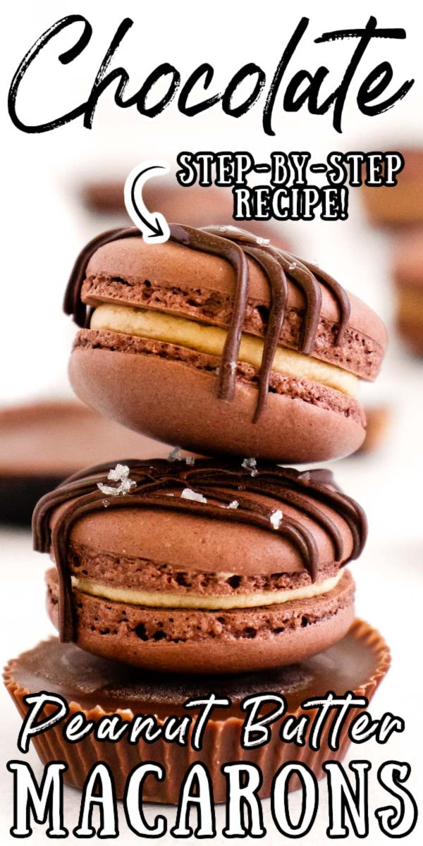 Chocolate Peanut Butter Macarons have a sweet fluffy peanut butter center enclosed by chocolaty meringue-based cookies! This delicious recipe includes step-by-step photos and tons of tips to make this classic French dessert! via @sugarandsoulco