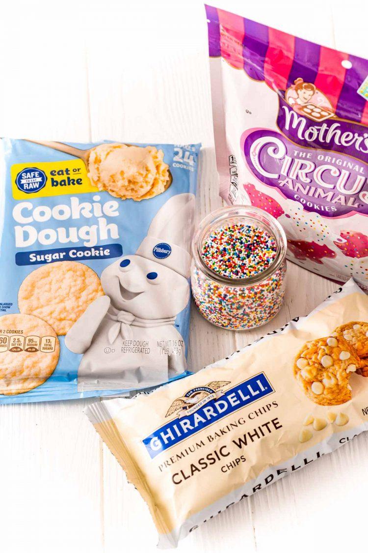 Ingredients to make circus animal sugar cookies.