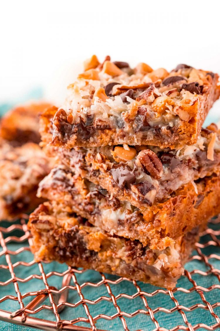 Close up photo of four hello dolly bars stacked on top of each other.