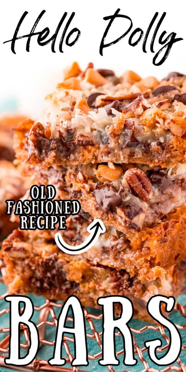 Hello Dolly Bars are the ultimate sweet and gooey treat that's loaded with chocolate chips, butterscotch chips, pecans, shredded coconut, and moistened with sweetened condensed milk! via @sugarandsoulco