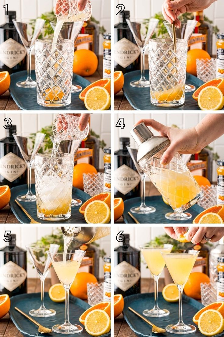 Step-by-step photos showing how to make a breakfast martini in a cocktail shaker.