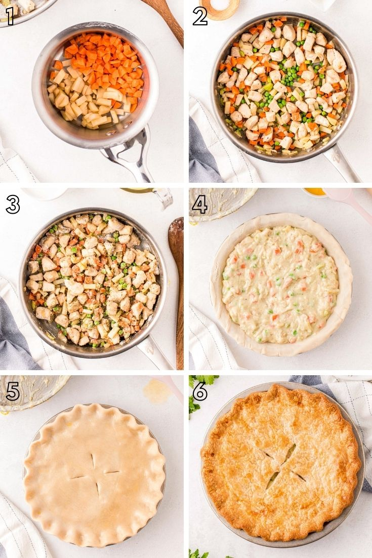 Step-by-step photo collage showing how to make chicken pot pie.