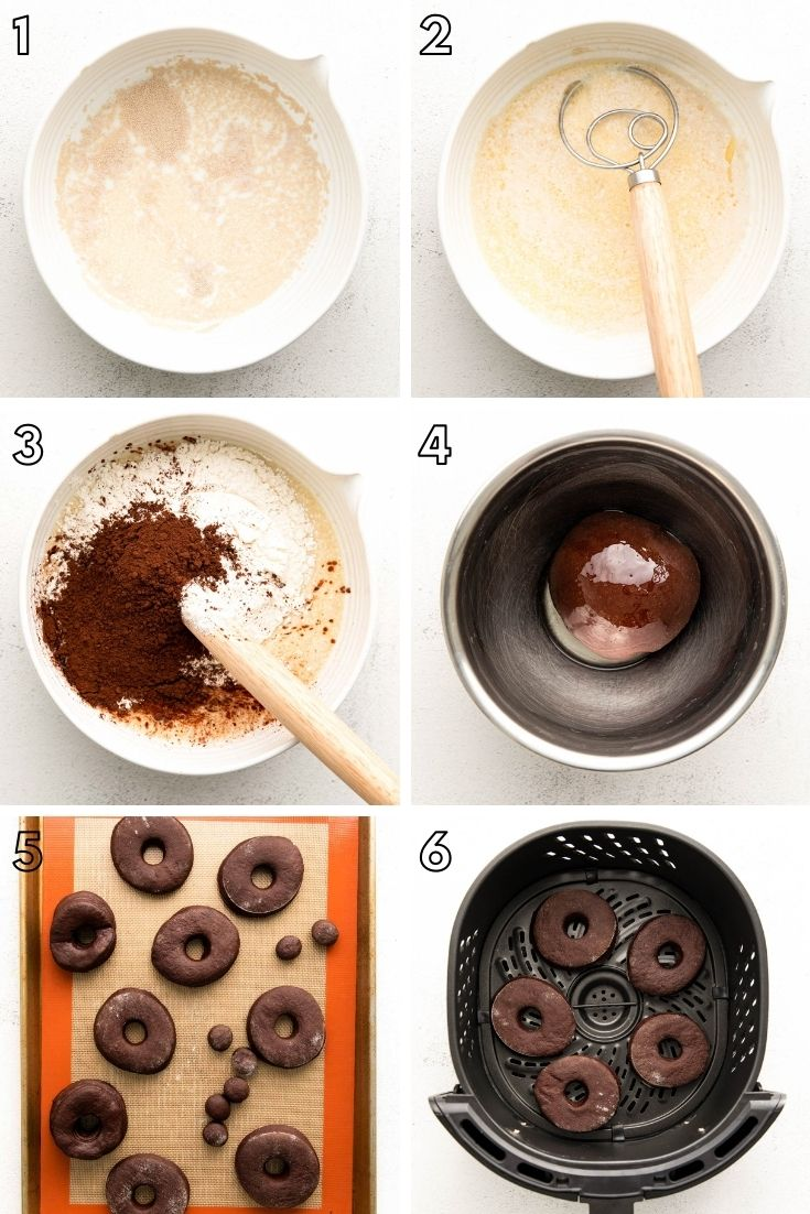 Step-by-step photo collage showing how to make chocolate donuts in the air fryer.