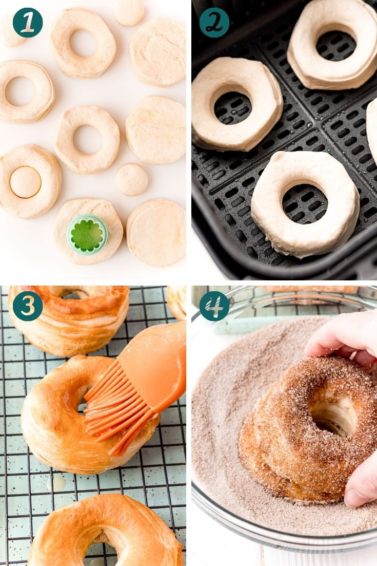 Step by step photo collage showing how to make donuts in the air fryer with biscuits.