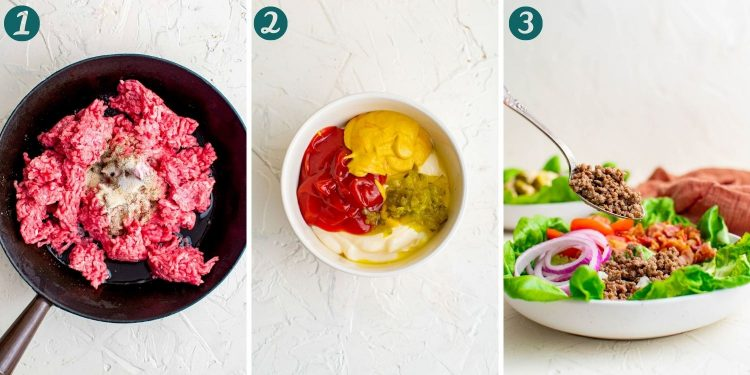 Step-by-step photo collage showing how to make burger bowls.