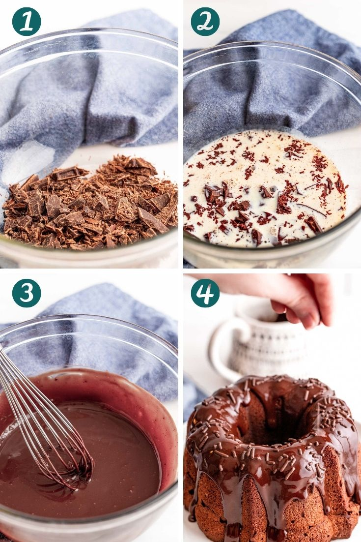 Step-by-step photo collage showing how to make chocolate ganache.