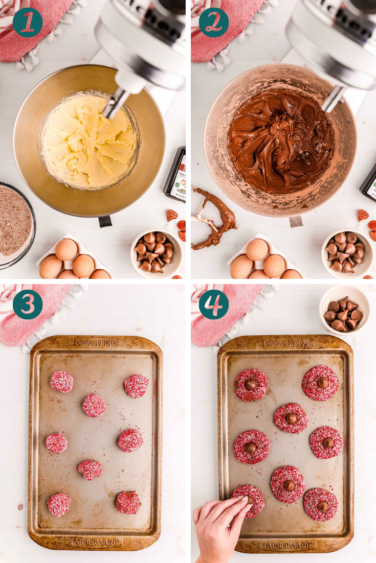 Step-by-step photo collage showing how to make chocolate blossom cookies for valentine's day.
