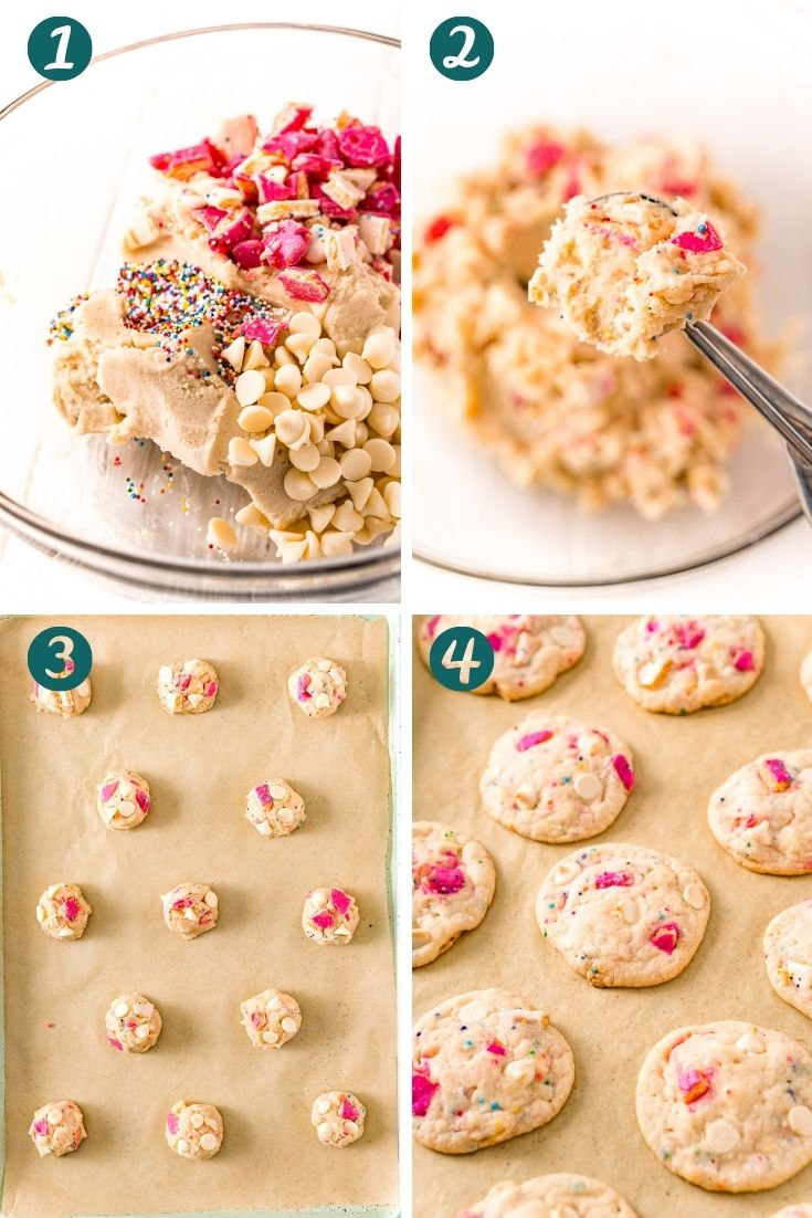 Step-by-step photo collage showing how to make circus animal sugar cookies.