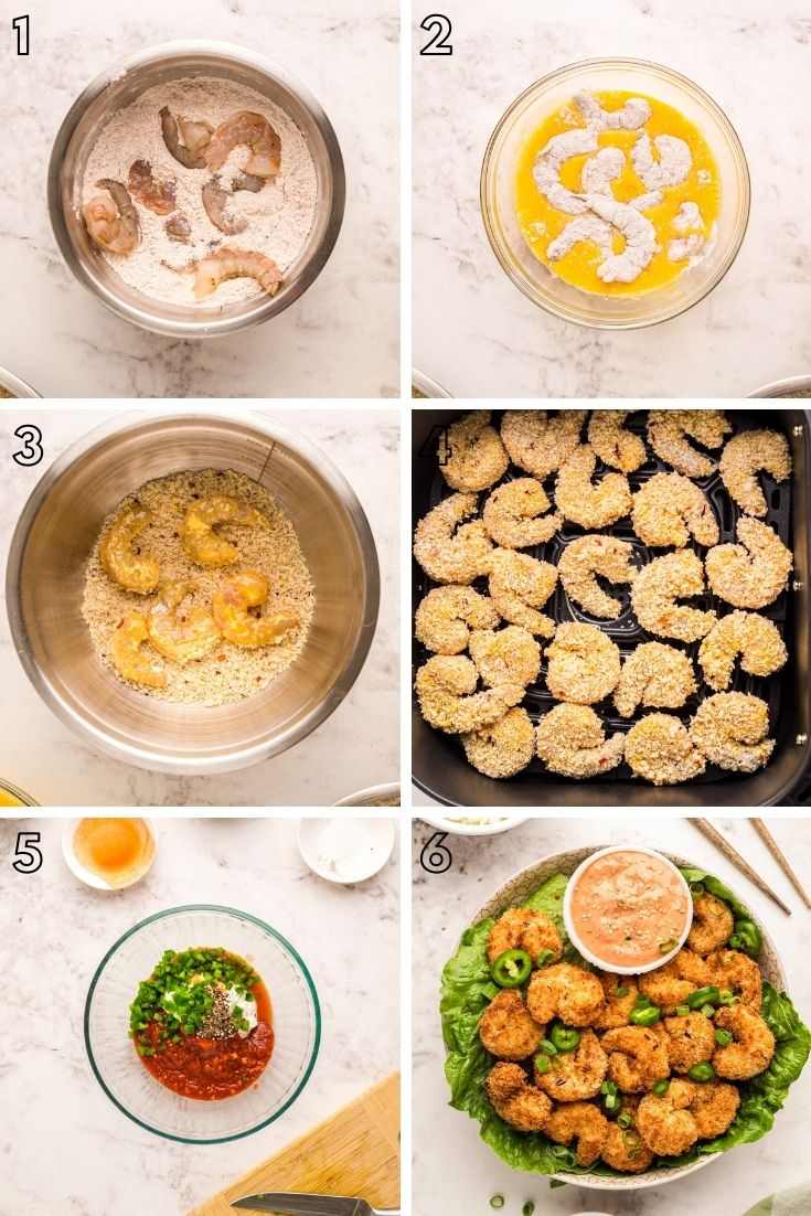 Step-by-step photo collage showing how to make air fryer shrimp.