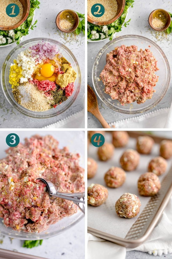 Step-by-step photo collage showing how to make Greek meatballs.