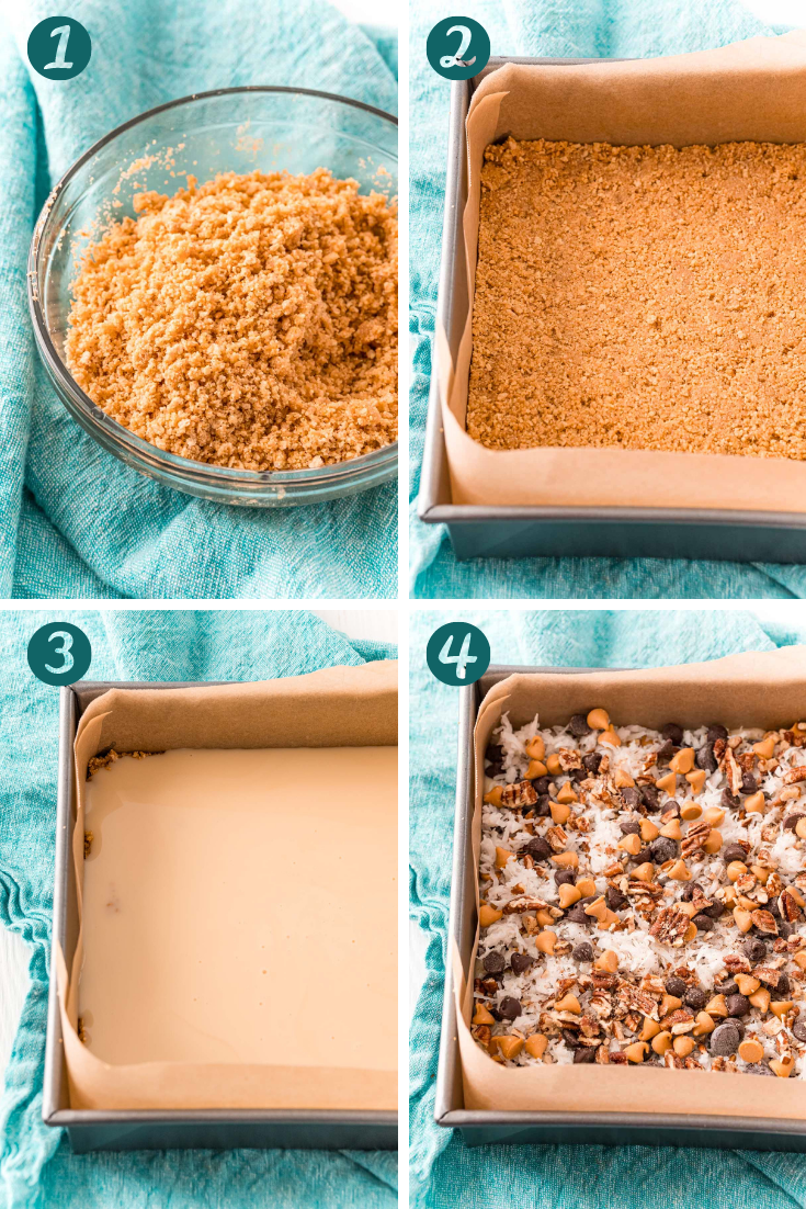 Photo collage showing how to make 7 layer bars.